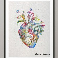 Original watercolor Human Heart canvas painting Organ wall art poster print Pictures living room Home Decoration wall hanging