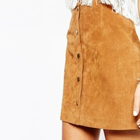 New Look Suede Popper Front Skirt