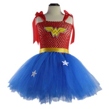 Wonder Woman Kids Superman Dresses 2017 The New Cute Red Girl Dress Peach Minion Cosplay Tutu Dress Halloween Costume Kids Dress