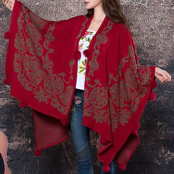 Effortless Style Red Collarless Jacquard Knitted Cape For Women
