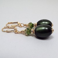 Dark Olive Green Earrings, Drop Dangle, Gold Plated, Made with Vintage Moonglow Lucite Beads, Glam Womens, Fall Jewelry, Lever Back Hook