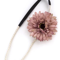 Subtle Floral Accent Headband - Dusty Rose