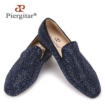 Piergitar 2017 men leather shoes with mixed colors rhinestones Prom and Banquet men casual loafers