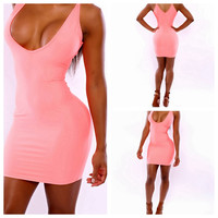 Pink Deep V Sleeveless Bodycon Mini Dress