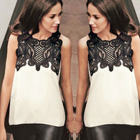 Sleeveless Lace Embroidered Chiffon Top