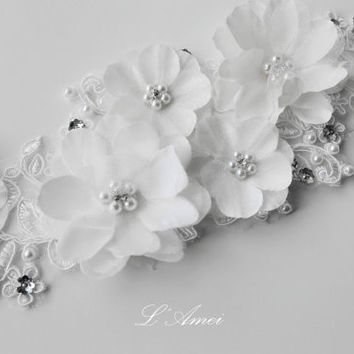 Shop white bridal lace fabric on wanelo rhinestone on small ivory white fabric flowers adorning lace und mightylinksfo