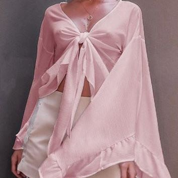 Pink Knot Front Flared Sleeve Crop Top