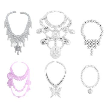 6 pcs/set Fashion Plastic Chain Necklace For Barbie Doll Party Accessories Fashion Jewelry Necklace For Dolls