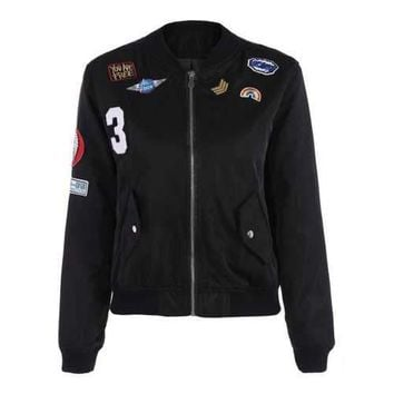 Appliques Bomber Jacket With Pockets - Black L