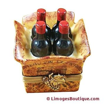 CRATE OF 4 WINE BOTTLES LIMOGES BOXES