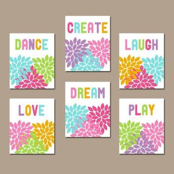 Girl QUOTES Wall Art, Colorful PLAYROOM Pictures, Baby Girl Nursery Decor, Girl Flower Bedroom Pictures, CANVAS or Prints, Set of 6 Pictures