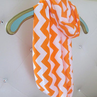 Orange infinity Chevron Scarf soft -Jersey knit Ready to ship