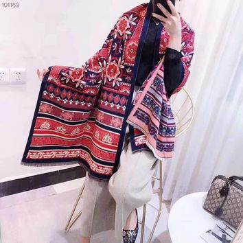 Woman Casual Fashion Classic Comfortable Stripe Double Sided Pattern Scarf