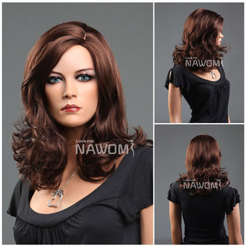 NAWOMI Charming Big Fluffy Wave 100% Kanekalon Synthetic Hair Wig Medium Long Curly