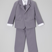 Gray & White Five-Piece Suit - Infant, Toddler & Boys