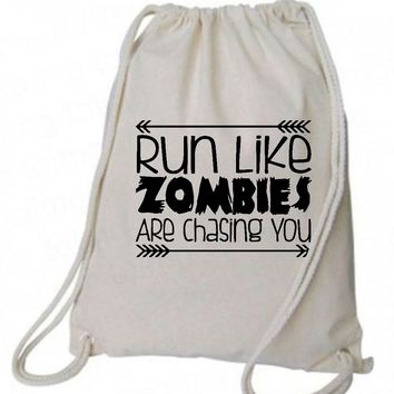 "Drawstring Gym Bag  ""run like zombies are chasing you""  Funny Workout Squatting Gift"