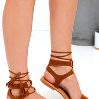 Street Fair Cognac Suede Lace-Up Sandals