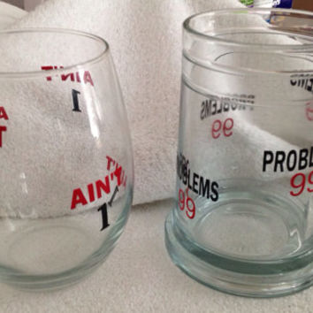Couples Glasses 99 Problems Beer Mug Ain't 1 wine glass