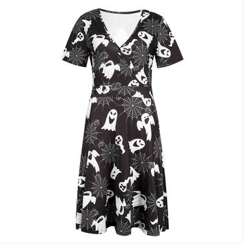 Women's Short Sleeve V Neck Halloween Ghost Prints Dress Costumes Party A Line Dresses