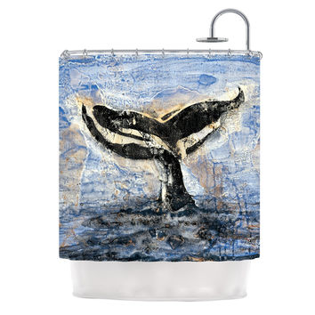 "Josh Serafin ""Whale Tail"" Coastal Painting Shower Curtain"