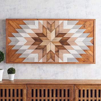 Geometric Burst Wood Wall Decor