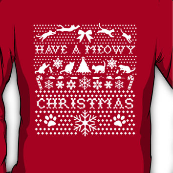 HAVE A MEOWY CHRISTMAS SWEATER PATTERN Long Sleeve