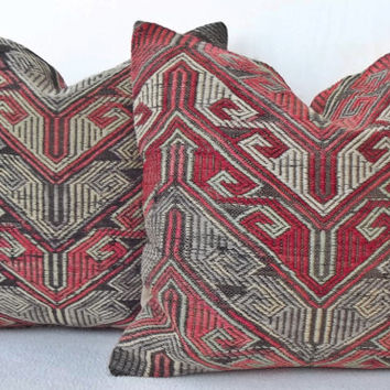 90 Y. OLD Set Handwoven Turkish Kilim Pillow, Soft and Thin Pale Pink Grey Decorative Throw Pillow