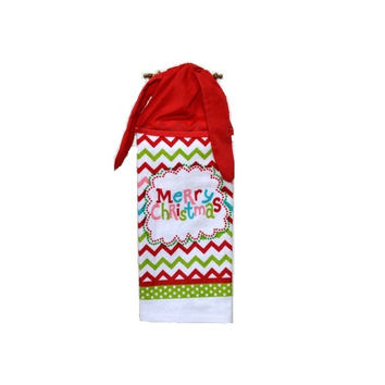 Kitchen Hand Towel, Christmas Towel, Merry Christmas, Tie on Towel, Chevron Towel, Towel with Ties, Dish Towel, Christmas Decor, Tea Towel