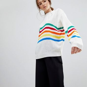 Daisy Street Jumper With Rainbow Stripe Panel at asos.com