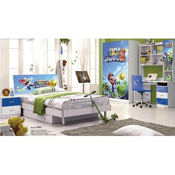 Loft Bed Set Kids Table And Chair Wood Kindergarten Furniture - Mario Theme