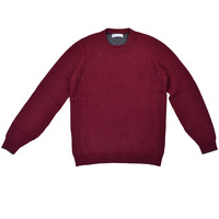 Brunello Cucinelli Cranberry English Ribbed Crew Neck Sweater