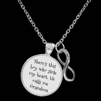 Grandma There's This Boy Who Stole My Heart Infinity Christmas Gift Necklace