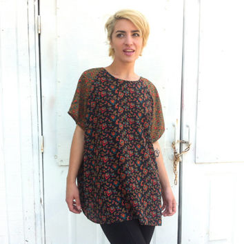 black floral shirt / baroque paisley flowy oversized long top / boho hippie witch dress / rustic woodland fairy