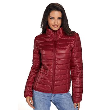 Chicloth Burgundy High Neck Quilted Cotton Jacket