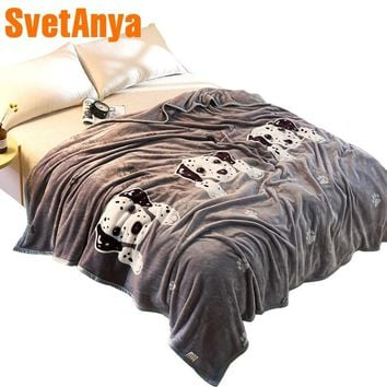 Cool Svetanya 230x250cm Cartoon Dog Throws Blanket Fleece Fabric Sheet Bedspread Twin Full Queen King sizeAT_93_12