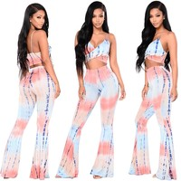 Multi-Colored Twist Crop Top and Matching Pants