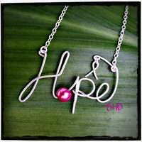 Hope Wire Word Pink Breast Cancer Awareness Necklace, Breast Cancer Jewelry, Fight for the Cure, Pink Ribbon