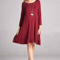 Burgundy 3/4 Sleeve Tshirt Pocket Dress - SM-3XL