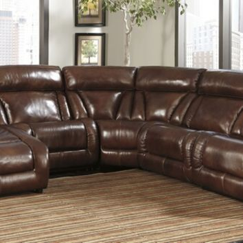 5 pc elemen ii collection harness colored top grain leather match upholstered sectional sofa with power recliners