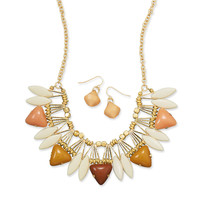 Golden Earth Tone Fashion Necklace and Earring Set