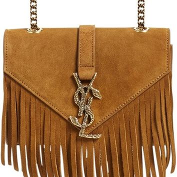 Saint Laurent 'Small Monogram - Serpent' Fringe Suede Crossbody Bag | Nordstrom