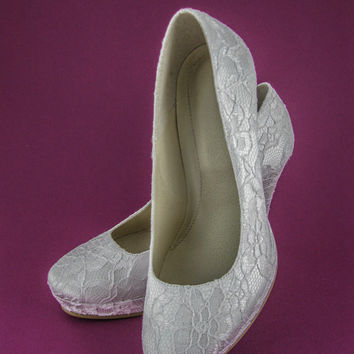 Handmade Wedding Lace Shoes, Bridal Shoes, Bridesmaid Shoes, Ivory Wedding Shoes, White Wedding Shoes, Prom Shoes, Evening Shoes