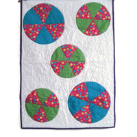 Bouncing Balls,  Baby Girl, Bright Dots, Floor Quilt, Car seat cover, 26x38