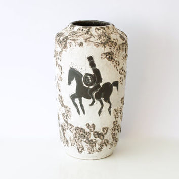 WEST GERMAN POTTERY Floor Vase, Scheurich 'Gladiator' or 'Rider' Decor, Fat Lava, Retro Modern, 517-38, Made in Germany