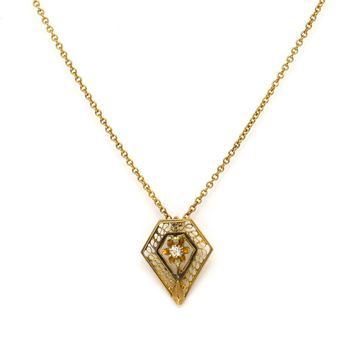 Filigree Diamond 14k Gold Edwardian Pendant Necklace, Edwardian, 1901 to 1920s