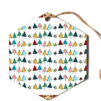 """bruxamagica """"Cute Colorful Christmas Tree"""" Multicolor White Pattern Holiday Illustration Hexagon Holiday Ornament"""