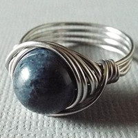 Dumoriterite Ring, Blue Stone Ring, Wire Wrapped Ring, Mens Titanium Ring, Christmas Gift Idea, Blue Ring, Mens Gift Idea, Navy Blue Ring