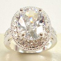 Noble women 925 sterling  silver  white sapphire & white topaz gemstones Rings Size 6 7 8 9 10 = 1932742340