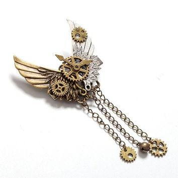 ONETOW 1pc Girls Steampunk Gear Wings Hair Clip Goth Punk Vintage Lolita Lady Headwear hair accessories