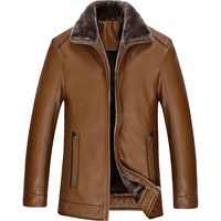 New Men's Winter Warm Faux Leather Outwear Cloth Fur Collar Coats Casual Washed Thicken Jacket